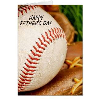 Baseball with Glove Happy Father's Day Greeting Card