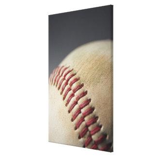 Baseball with impact mark. canvas print