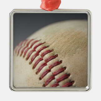 Baseball with impact mark. Silver-Colored square decoration