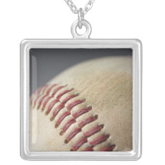 Baseball with impact mark. square pendant necklace