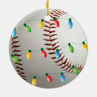 Baseball with lights holiday ornament