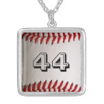 Baseball with Personalised Number Square Pendant Necklace