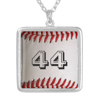 Baseball with Personalized Number Silver Plated Necklace