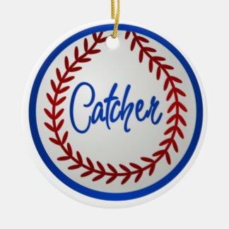 Baseball With Red Stitches and Catcher Christmas Ornament