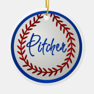 Baseball With Red Stitches and Pitcher Christmas Ornament