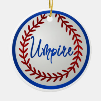 Baseball With Red Stitches and Umpire Christmas Ornament