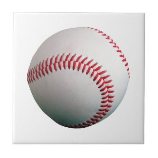 Baseball with Red Stitching Small Square Tile