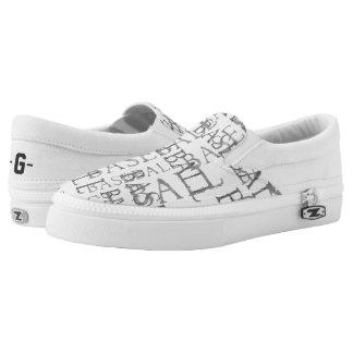 Baseball Word Art Slip-on Shoes