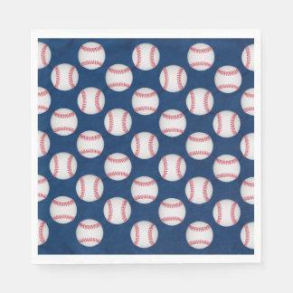 Baseballs & American Flag Paper Serviettes
