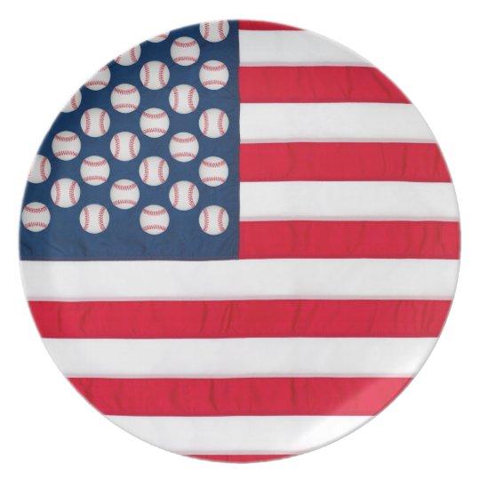 Baseballs & American Flag reusable plate