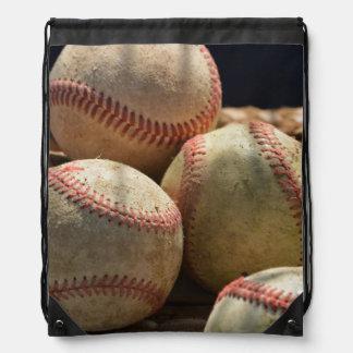 Baseballs and Glove Drawstring Bag