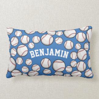 Baseballs By the Boatload Custom Persian Blue Lumbar Cushion