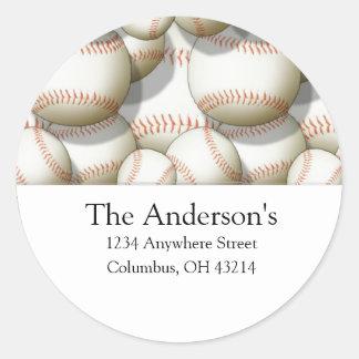 Baseballs Design 2 Address Labels/Stickers Round Sticker