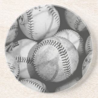 Baseballs in Black and White Coaster