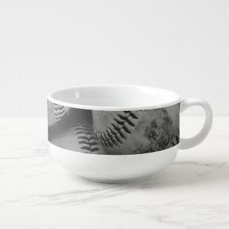 Baseballs in Black and White Soup Mug