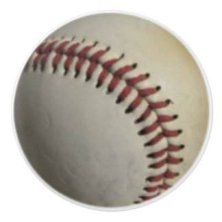 Baseballs on Red Checkered Background Ceramic Knob