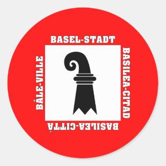 Basel Stadt Switzerland Flag Round Sticker