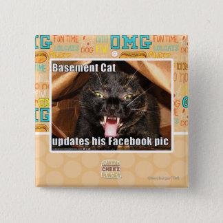 Basement Cat 15 Cm Square Badge