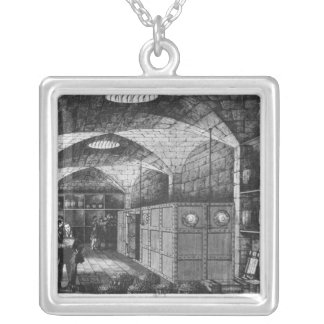Basement of the Bank of France in Paris, 1897 Silver Plated Necklace