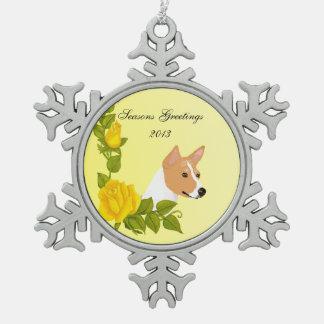 Basenji and Yellow Roses Pewter Snowflake Decoration