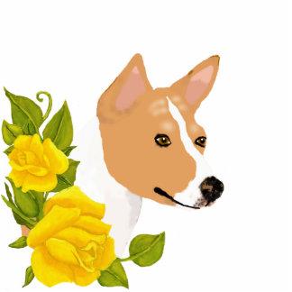 Basenji and Yellow Roses Photo Sculpture Key Ring