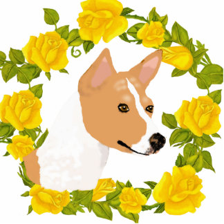 Basenji and Yellow Roses Photo Sculpture Magnet