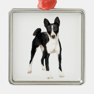 Basenji (B) - black and white Silver-Colored Square Decoration