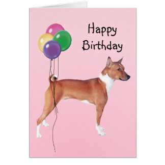Basenji, Birthday Balloons Card
