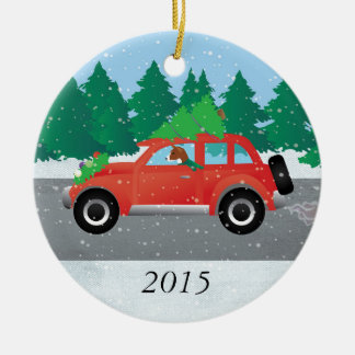 Basenji Dog Driving a  Red Car with Christmas Tree Christmas Ornament