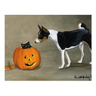"""""""Basenji Halloween"""" Dog Art Postcard"""