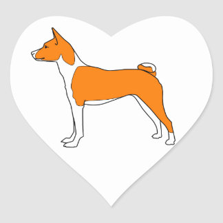 basenji heart heart sticker