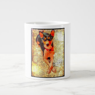 Basenji lounging on coffee mug. large coffee mug