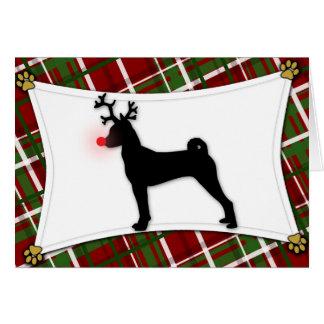 Basenji Reindeer Christmas Card