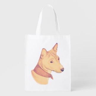 Basenji - reusable shopping bag, folds small reusable grocery bag