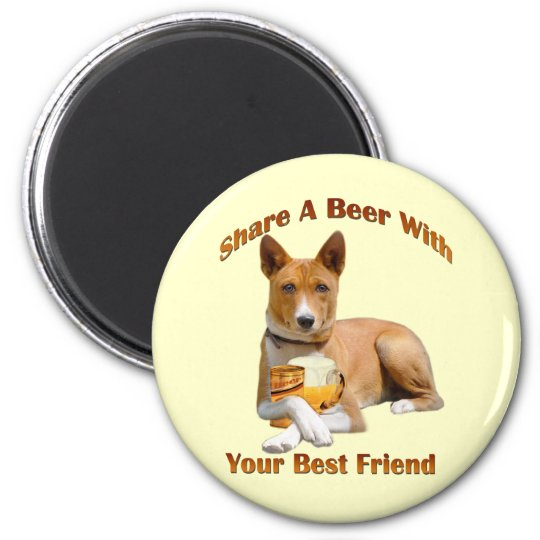 Basenji Shares A Beer 6 Cm Round Magnet