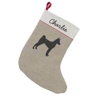 Basenji Silhouette with Custom Text Small Christmas Stocking