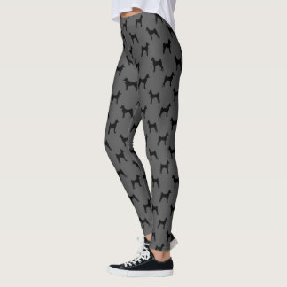 Basenji Silhouettes Pattern Grey and Black Leggings