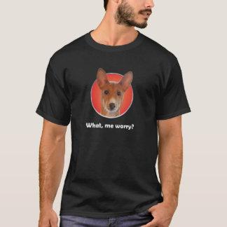Basenji worry T-shirt dark