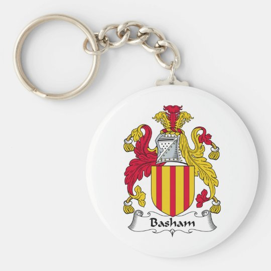 Basham Family Crest Basic Round Button Key Ring