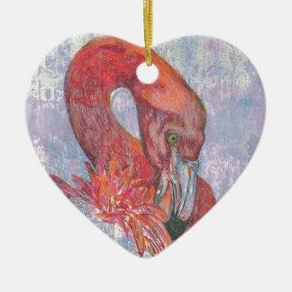 Bashful Flamingo Ceramic Heart Decoration