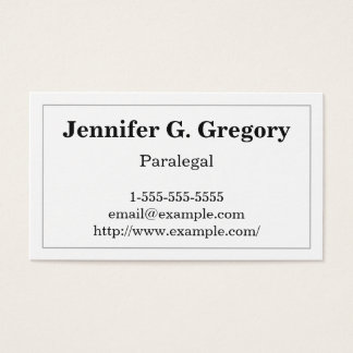 Basic and Traditional Paralegal Business Card