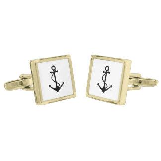 Basic Black Anchor Gold Finish Cufflinks