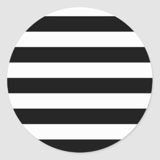 Basic Black and White Stripes Round Stickers