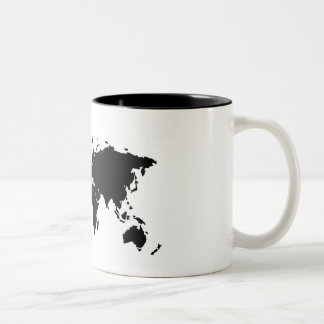 Basic Black World Map Mug
