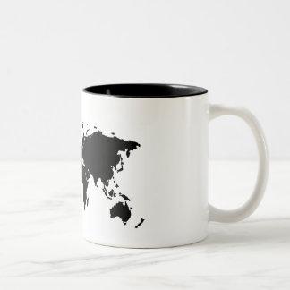 Basic Black World Map Mug