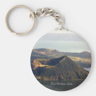 Basic Button Keychain, Taal Volcano Lake Basic Round Button Key Ring