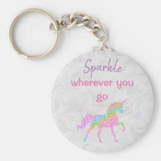 Basic Button Keychain - Unicorn