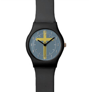 Basic Christian Cross Golden Ratio Yellow Blue Watch