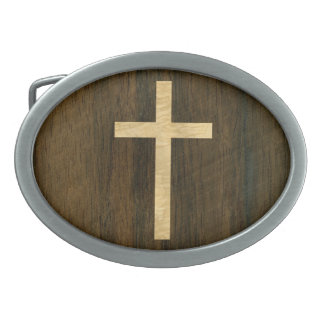 Basic Christian Cross Wooden Veneer Maple Rosewood Oval Belt Buckle