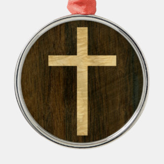Basic Christian Cross Wooden Veneer Maple Rosewood Silver-Colored Round Decoration